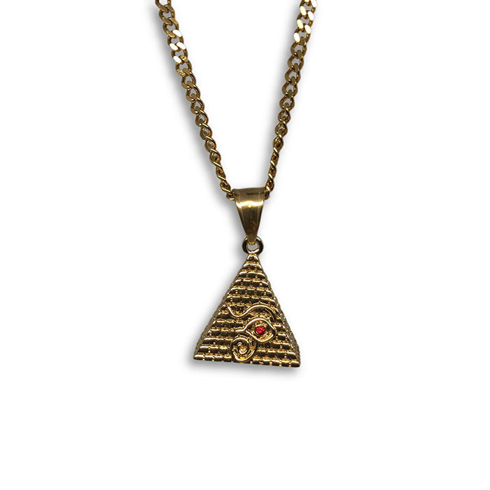 24IN 3MM CHAIN WITH PYRAMID RUBY PENDANT STL_046 - WORLDSTARBLING