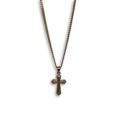 24IN 3MM CHAIN WITH CROSS PENDANT STL_049 - WORLDSTARBLING