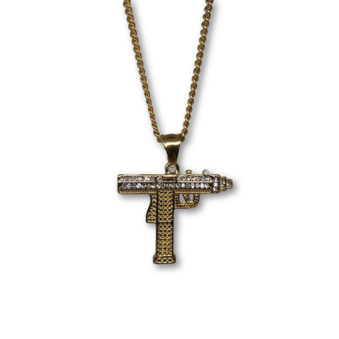 24IN 3MM GUN PENDANT WITH CHAIN STL_058