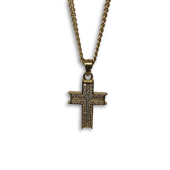 24IN 3MM CHAIN WITH CROSS PENDANT STL_059 - WORLDSTARBLING