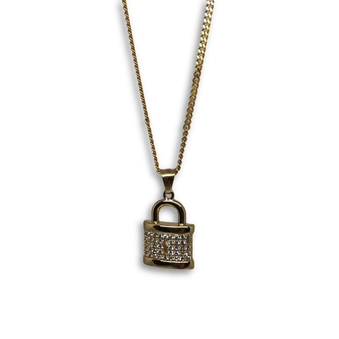24IN 3MM CHAIN WITH LOCK PENDANT STL_061 - WORLDSTARBLING
