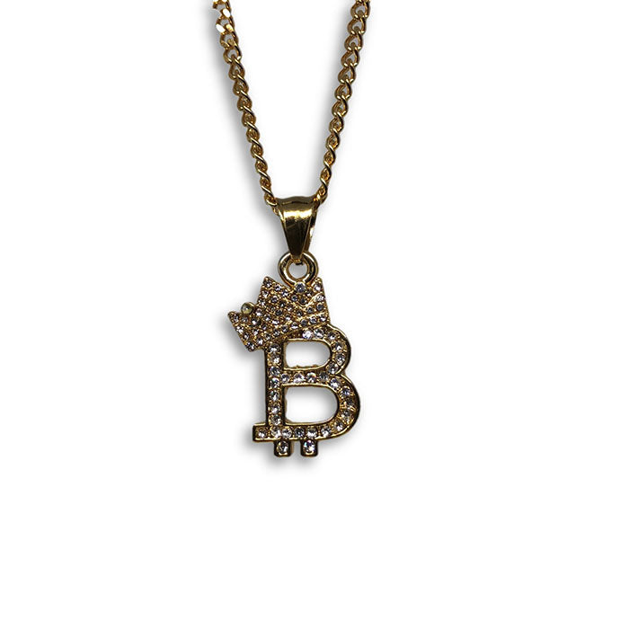 24IN 3MM CHAIN WITH CROWN & B EMOJI PENDANT STL_062