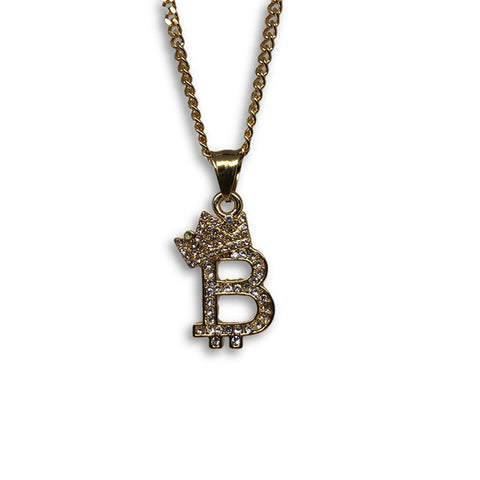 24IN 3MM CHAIN WITH CROWN & B EMOJI PENDANT STL_062 - WORLDSTARBLING