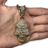 30IN 4MM Rope Chain Gold Plated Stainless Steel With Skull Pendant STL_070