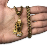 24IN 4MM Rope Chain Gold Plated Stainless With Praying Hands Pendants STL_075 - WORLDSTARBLING