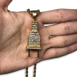 24IN 4MM Rope Chain Gold Plated Stainless With Plug Pendant STL_076