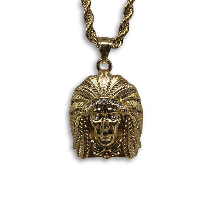 24IN 4MM Rope Chain Gold Plated Stainless With Native American Pendant STL_077 - WORLDSTARBLING