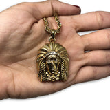 24IN 4MM Rope Chain Gold Plated Stainless With Native American Pendant STL_077