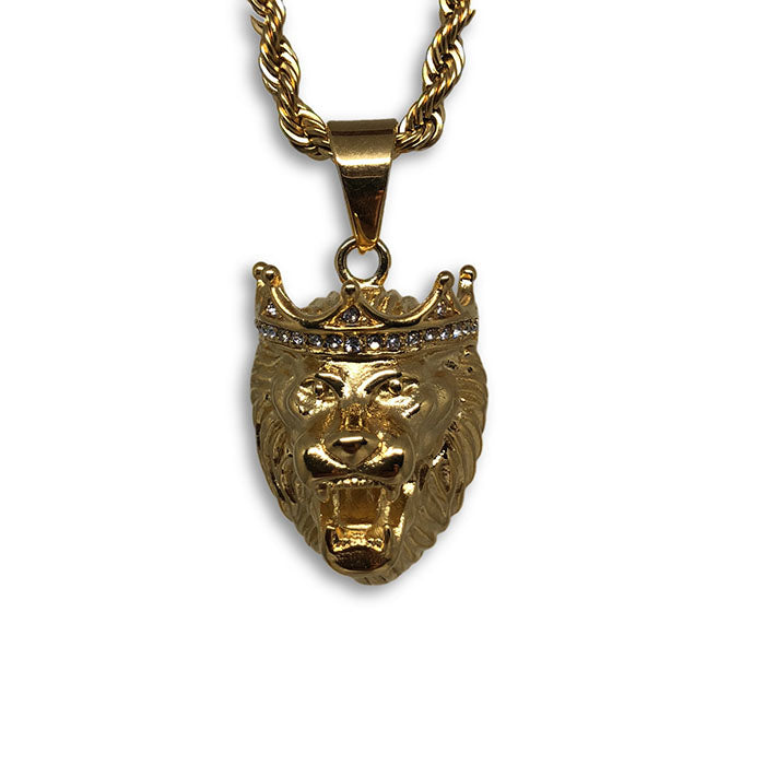 24IN 4MM Rope Chain Gold Plated Stainless With Lion Pendant STL_080 - WORLDSTARBLING