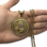 24IN 4MM Rollo Chain Gold Plated Stainless With Round Praying Hands Pendant STL_084