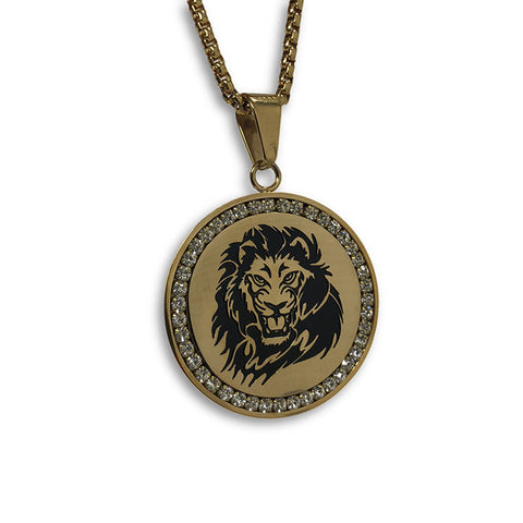 24IN 4MM Rollo Chain Gold Plated Stainless With Round Lion Pendant STL_088 - WORLDSTARBLING