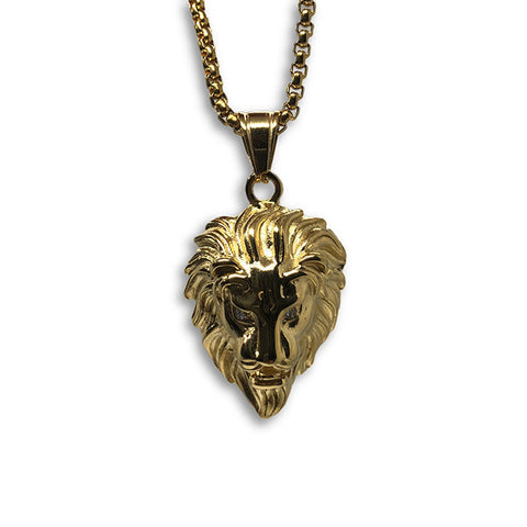 24IN 4MM Rollo Chain Gold Plated Stainless With Lion Haed Pendant STL_089 - WORLDSTARBLING
