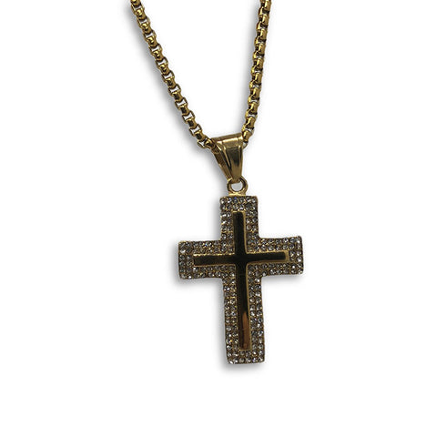 24IN 4MM Rollo Chain Gold Plated Stainless With Cross Pendant STL_091 - WORLDSTARBLING