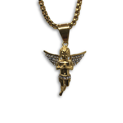 24IN 4MM Rollo Chain Gold Plated Stainless With Angel Pendant STL_092 - WORLDSTARBLING