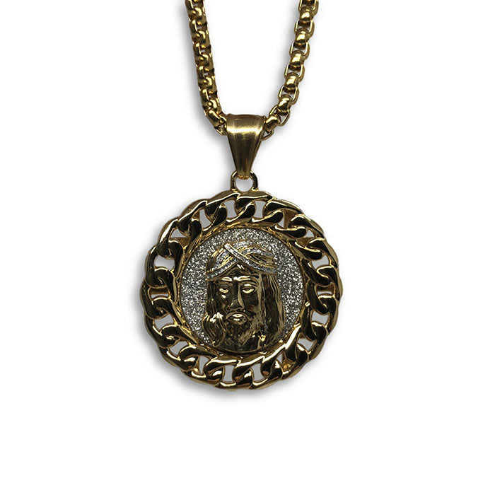 24IN 4MM Rollo Chain Gold Plated Stainless With Round Jesus Pendant STL_093 - WORLDSTARBLING