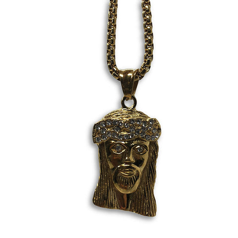 24IN 4MM Rollo Chain Gold Plated Stainless With Jesus Haed Pendant STL_096