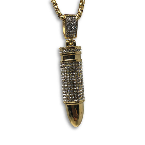24IN 4MM Rollo Chain Gold Plated Stainless With Bullet Pendant STL_098 - WORLDSTARBLING