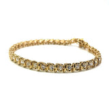10K Yellow Gold Curve Dash 2 Tennis Bracelet 5.3MM WBG-006 - WORLDSTARBLING