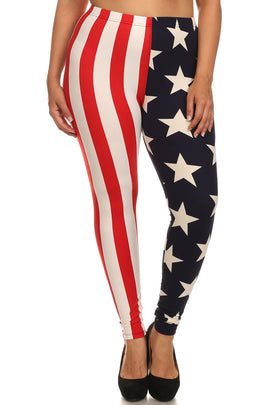 New Women's Plus Size American Flag Printed Legging
