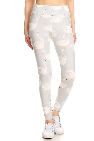 Beautiful Swan Print Yoga Pants Leggings