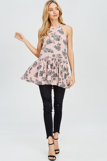 SLEEVELESS COTTON FLORAL PEPLUM TOP