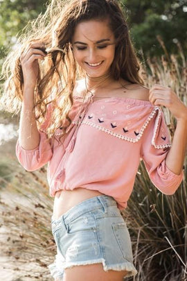 Tops & Blouses - Pink Rose Embroidery Top