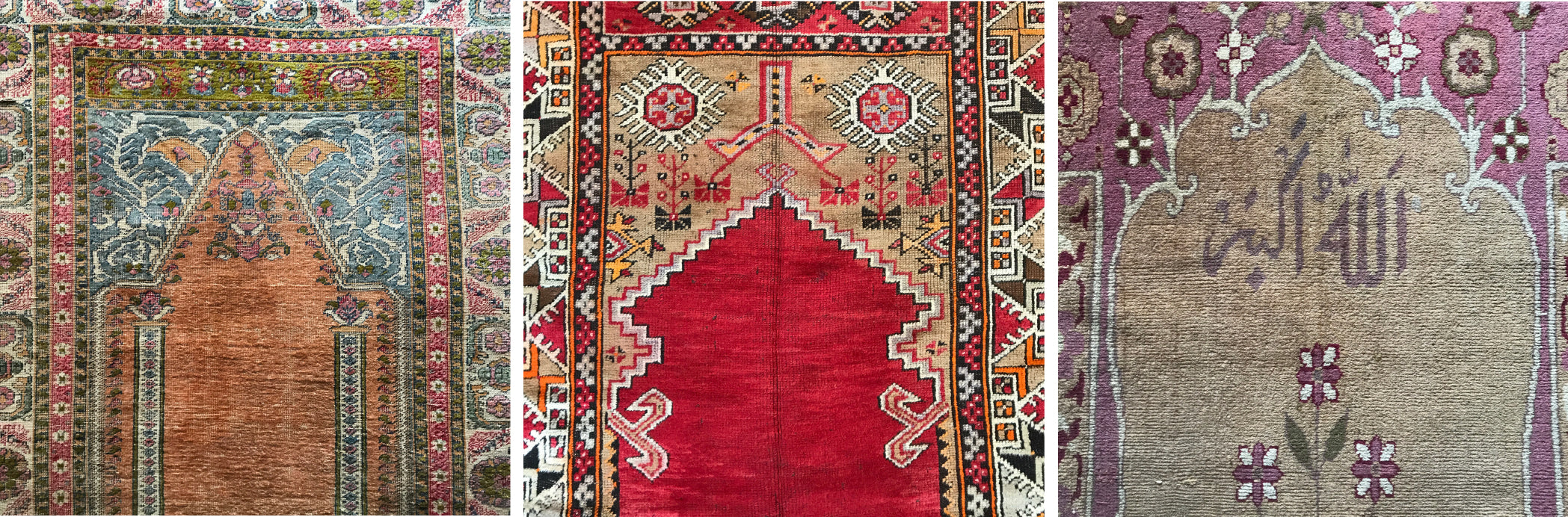 Keyseri and other Turkish Prayer Rugs and Agra Prayer Rug with the top of design, or mihrab detailed