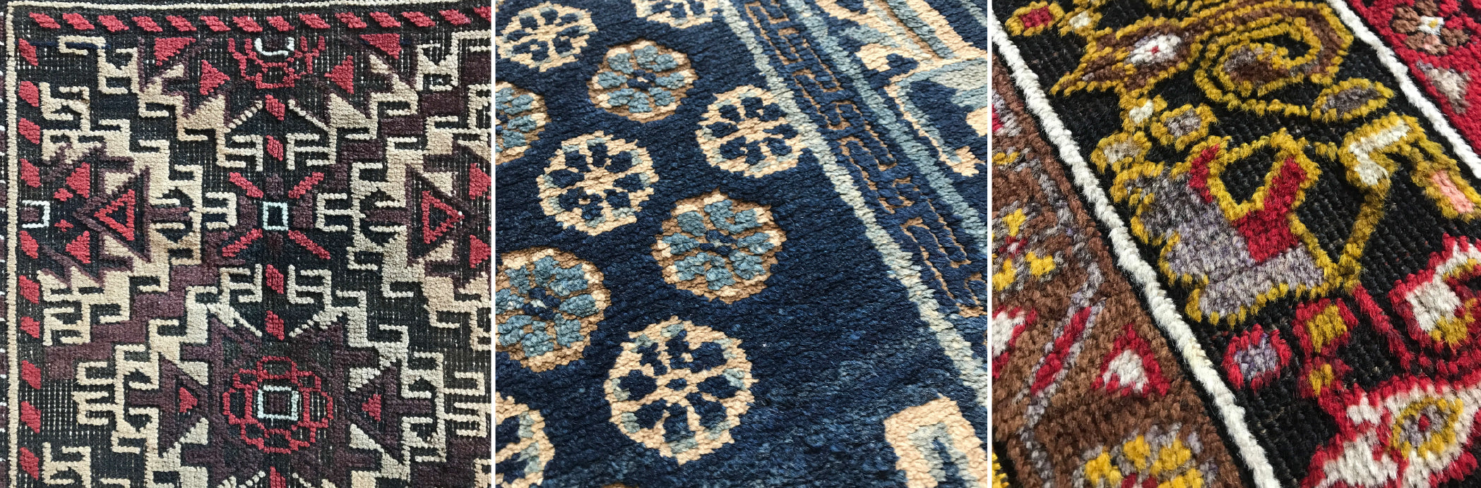 Three examples of oxidation in antique rugs, Baluch, Ningxia & Turkish Maden