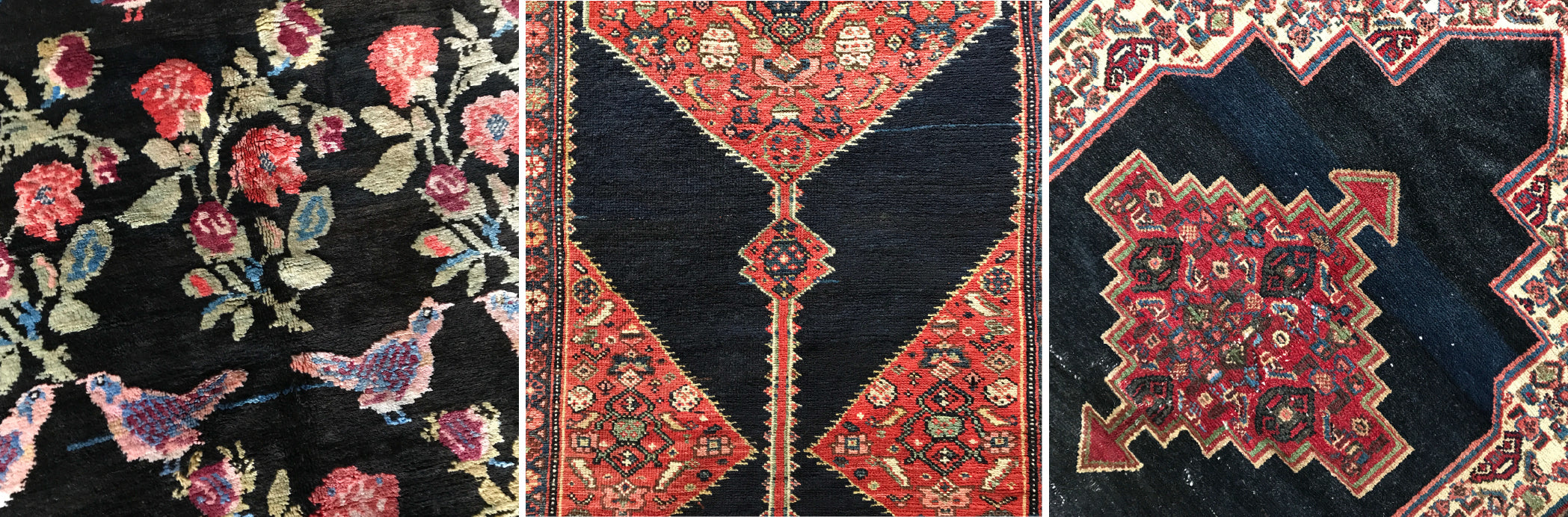 Karabagh, Kurdish and Senneh rugs with examples of deep blue/black surmah