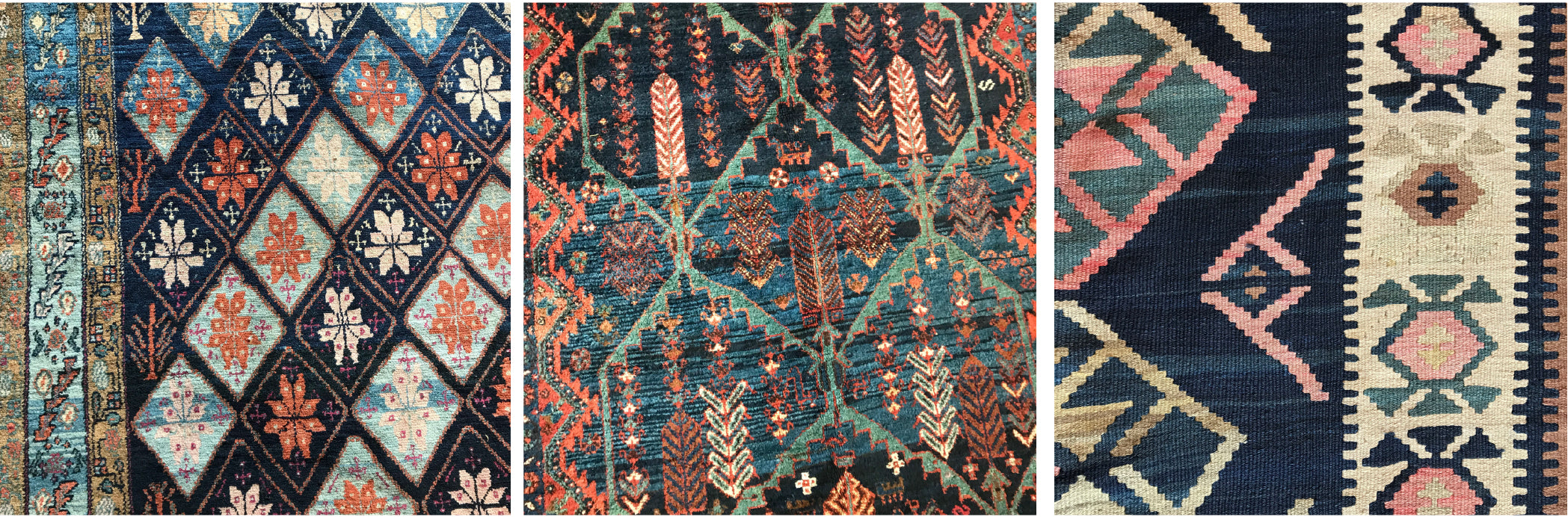 Examples of abrash in Persian Malayer, Veramin and Caucasian Shirvan Kilim