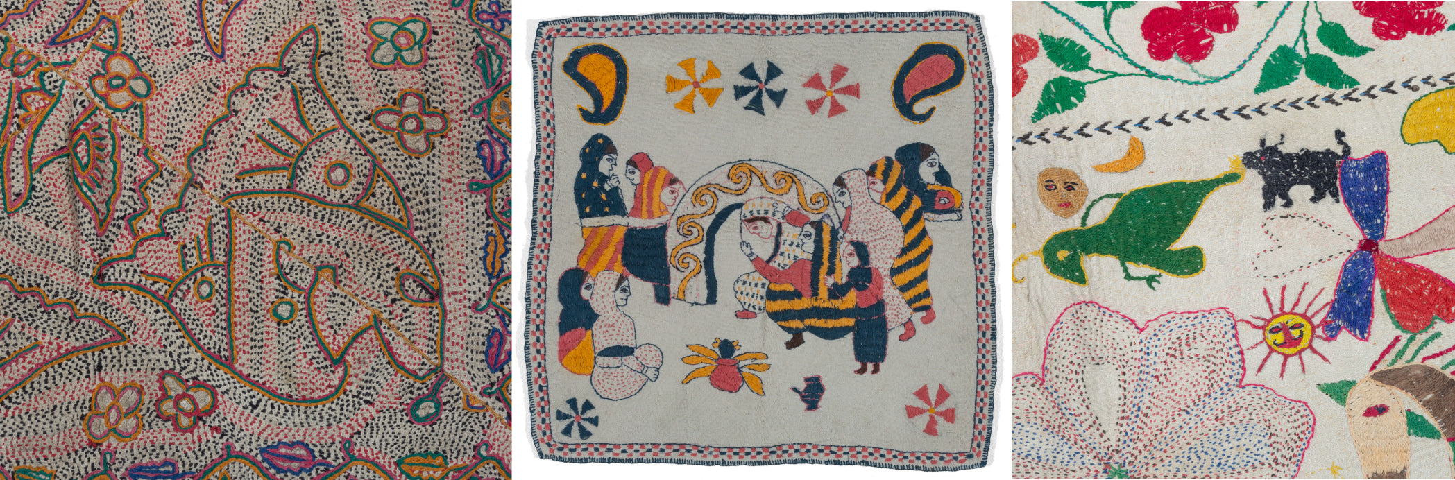 Three images of Bangladeshi Nakshi Kantha textiles