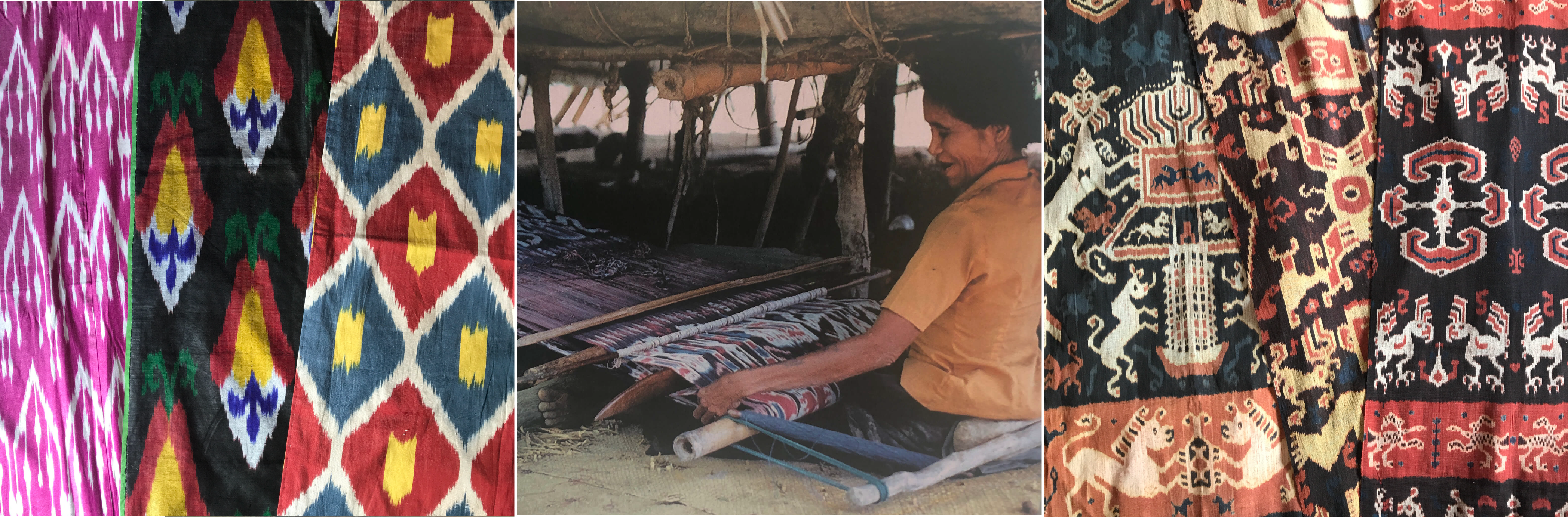 Ikat weaving textile examples from Uzbekistan & Indonesia