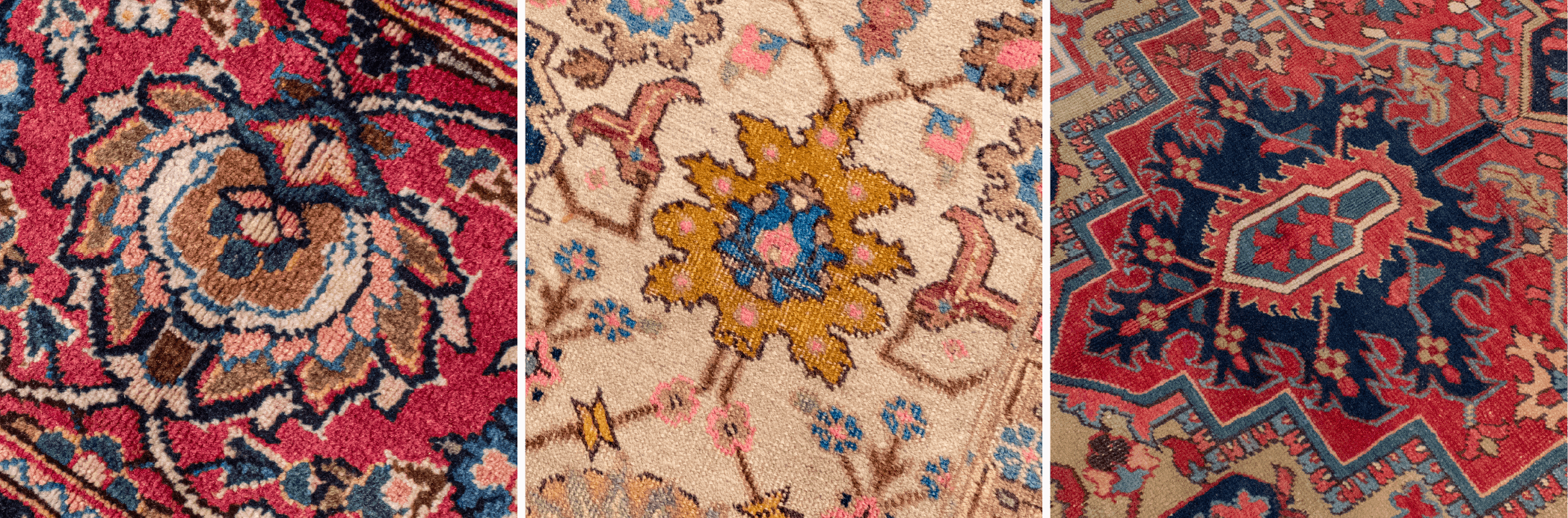 Persian Tabriz and Heriz examples of palmettes in rug design