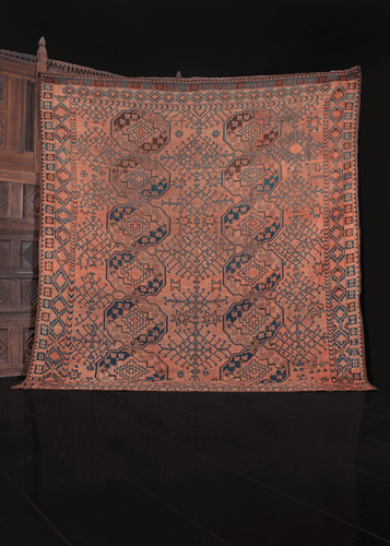 19th century ersari turkmen rug with gul design and orange blue and brown color palette. in good condition