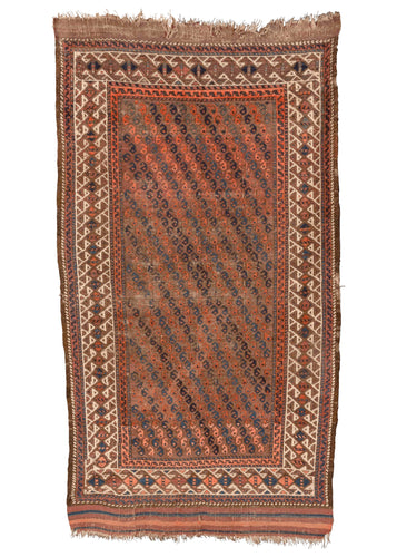 Antique Baluch rug with blue and orange botehs as central allover design