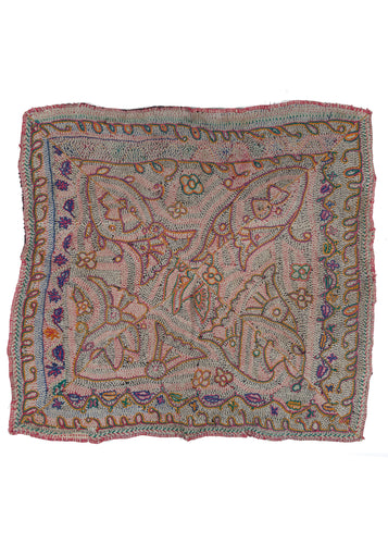 Antique Bengali Hand embroidered Islamic Nakshi Kantha Textile featuring ornate natural designs in orange, purple and green