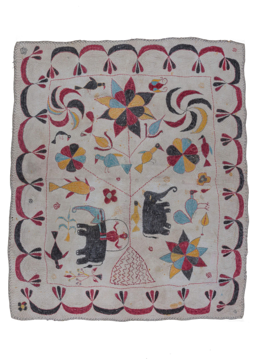 Antique Bengali hand embroidered Nakshi Kantha hand quilted textile with a tree of life motif and elephants and birds
