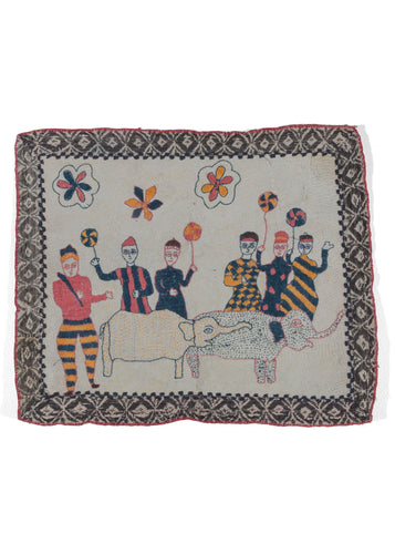 Antique Bengali hand embroidered Nakshi Kantha textile featuring men with sport and elephant atop a hand quilted off-white cotton field with a black diamond border