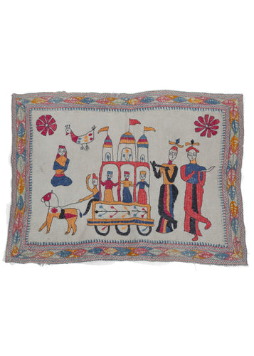 Antique Bengali hand embroidered Nakshi Kantha textile featuring three borders, one with leaves and an embroidered scene of a wedding procession with musicians and a floating yogi on a hand quilted off-white cotton