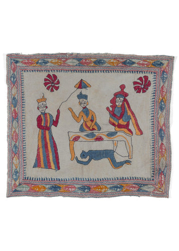 Antique Bengali hand embroidered Nakshi Kantha depicting a scene from the Ramayana