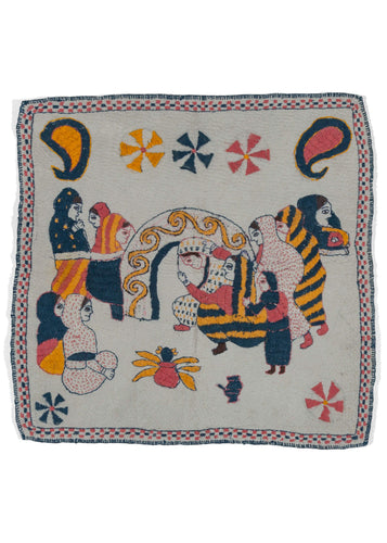 Antique Bengali hand embroidered Nakshi Kantha featuring feminine humans preparing for a wedding party atop a hand quilted off-white field