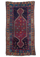 Antique Central Anatolian Turkish rug with deep eggplant, gold and blue tones handwoven area rug