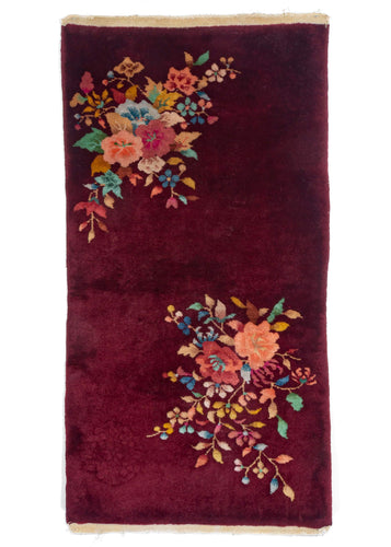 Chinese Art Deco Rug Handwoven Maroon with full medium thick pile and arranged flowers