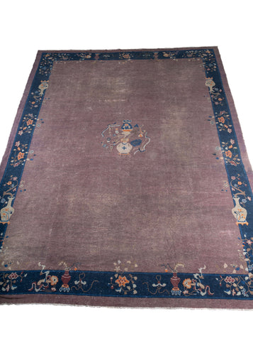 Antique Chinese Lavender Peking Rug with an Indigo border