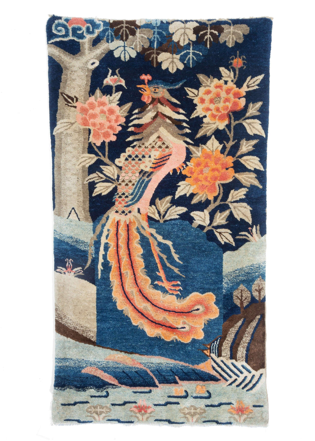 Chinese Pao Tao Rug featuring a Phoenix bird or pheasant surrounded by chrysanthemums, lily pads and a beautiful tree