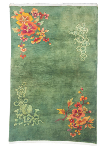 Antique Green Chinese Deco Area Rug