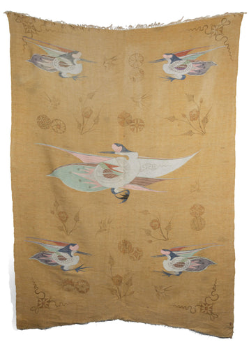 Antique Painted Mongolian Kesi - woven textile featuring cranes woven in pastel colors surrounded by painted plants and symbols in an earthy brown tone