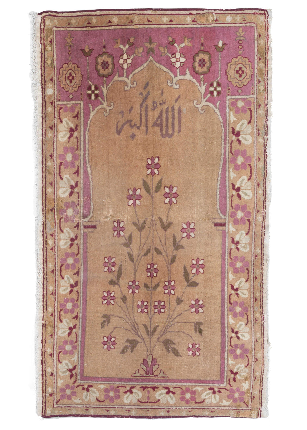 Antique Mughal Northern India Agra Prayer Rug pink and floral