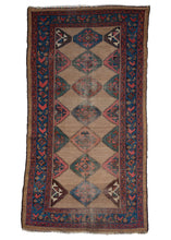 Antique NW Persian Bidjar Area Rug with a camel brown field and diamonds in green, pink, blue and maroon