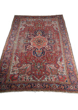 antique NW Persian Heriz Rug with central medallion and bright saturated colors